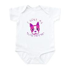 """""""I Love My Boston Terrier"""" White Infant Creeper"""