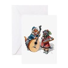 Cats Play Music in the Snow Greeting Card