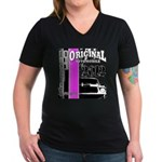 Original Muscle Car Pink Women's V-Neck Dark T-Shi