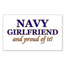Navy Girlfriend & proud of it Sticker (Rectangular