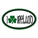 I Love Ireland 2 Oval Decal