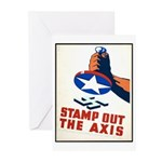 Stamp Out The Axis WW II Poster Greeting Cards (Pk