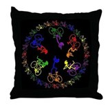 Bicycling Kokopelli Throw Pillow