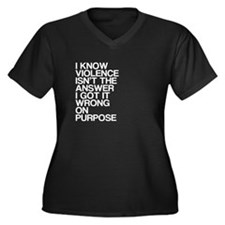 Violence, Humor, Women's Plus Size V-Neck Dark T-S