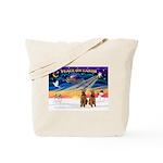 XmasSunrise/2 Airedales Tote Bag