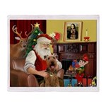 Santas Airedale Throw Blanket