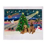 XmasMagic/Airedale Throw Blanket