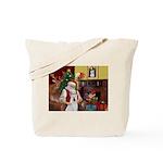 Santa & Akita Tote Bag