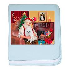 Santa's Eskimo Spitz baby blanket