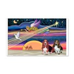Xmas Star & 2 Bassets 20x12 Wall Decal