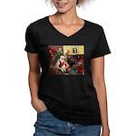Santa's Beagle Women's V-Neck Dark T-Shirt