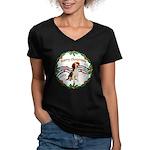 XmasMusic1MC/ Beagle Women's V-Neck Dark T-Shirt