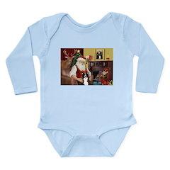 Santa's Border Collie Long Sleeve Infant Bodysuit