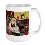 Santa & His Brittany Large Mug