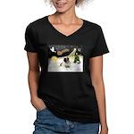 Night Flight/Mastiff 4 Women's V-Neck Dark T-Shirt