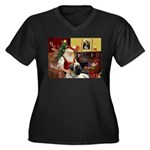 Santa's Bull Mastiff #4 Women's Plus Size V-Neck D