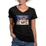 XmasSunrise/5 Cavaliers Women's V-Neck Dark T-Shir