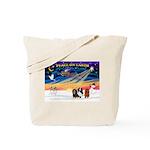 XmasSunrise/3 Cavaliers Tote Bag