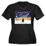 XmasSunrise/Shar Pei Women's Plus Size V-Neck Dark