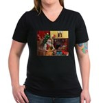 Santa's Shar Pei Women's V-Neck Dark T-Shirt
