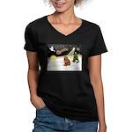 Night Flight/Chow #2 Women's V-Neck Dark T-Shirt
