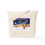 XmasSunrise/2 Collies Tote Bag