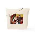 Santa's Collie (t) Tote Bag