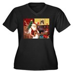 Santa's Collie Women's Plus Size V-Neck Dark T-Shi