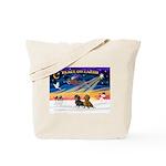 XmasSunrise/2 Dachshunds Tote Bag