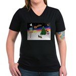 XmasSigns/2 Dachshunds Women's V-Neck Dark T-Shirt