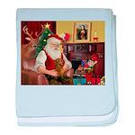 Santa's Dachshund (b) baby blanket