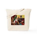 Santa/Two Dachshunds (BB) Tote Bag
