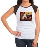 Santa's Dachshund (LH-B) Women's Cap Sleeve T-Shir