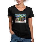 XmasMagic/2 Dobies (P3) Women's V-Neck Dark T-Shir