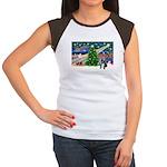 XmasMagic/French BD (BW) Women's Cap Sleeve T-Shir