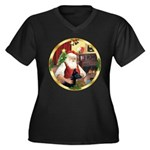Santa's German Shepherd #14 Women's Plus Size V-Ne