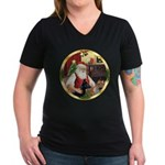 Santa's German Shepherd #14 Women's V-Neck Dark T-