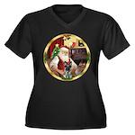 Santa's German Shepherd #12 Women's Plus Size V-Ne