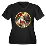 Santa's German Shepherd #11 Women's Plus Size V-Ne
