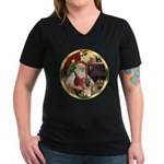 Santa's German Shepherd #11 Women's V-Neck Dark T-