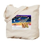 XmasSunrise/3 Goldens Tote Bag