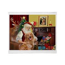 Santas Gold Retriever Throw Blanket