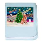 Xmas Magic Golden Retriever (#1) baby blanket