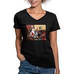 Santa/Keeshond Women's V-Neck Dark T-Shirt