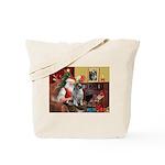 Santa/Keeshond Tote Bag