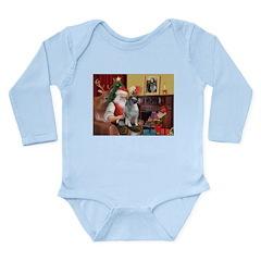 Santa/Keeshond Long Sleeve Infant Bodysuit