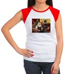 Santa's 2 Black Labs Women's Cap Sleeve T-Shirt