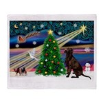 Xmas Magic & Choc Lab Throw Blanket