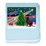 Xmas Magic & Choc Lab baby blanket