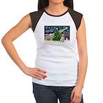 Xmas Magic & Yelow Lab Women's Cap Sleeve T-Shirt